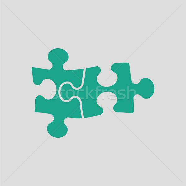 Puzzle decyzja ikona szary zielone pracy Zdjęcia stock © angelp