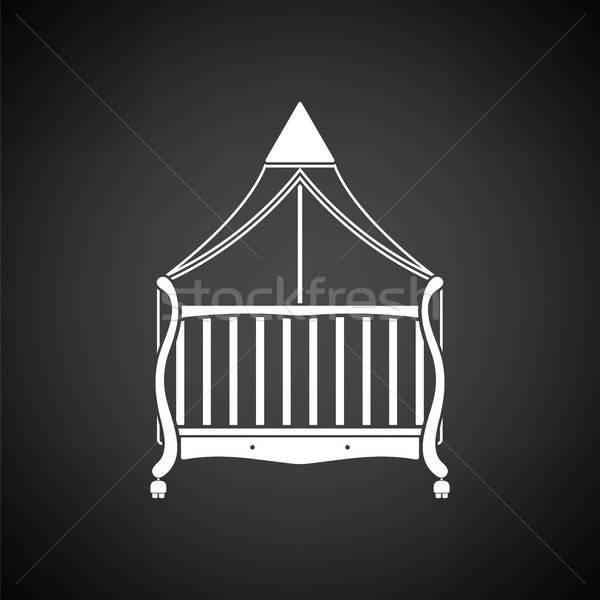 Wiege Symbol schwarz weiß Haus Baby Zimmer Stock foto © angelp