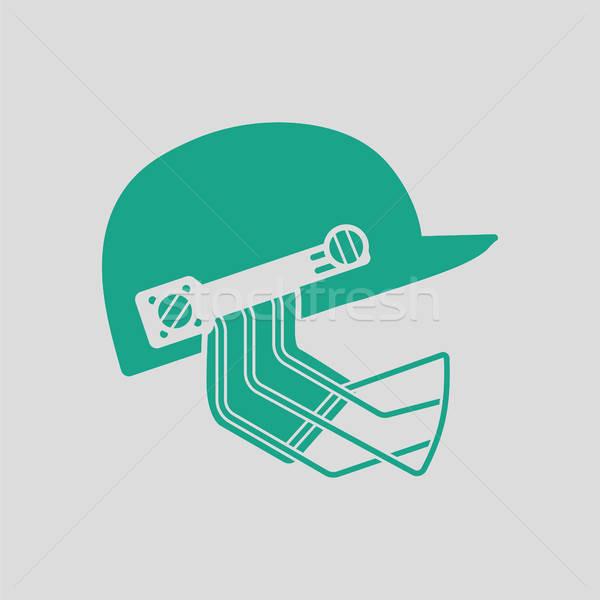 Críquete capacete ícone cinza verde máscara Foto stock © angelp