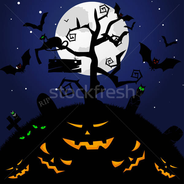 Feliz halloween cartão árvore cara projeto Foto stock © angelp