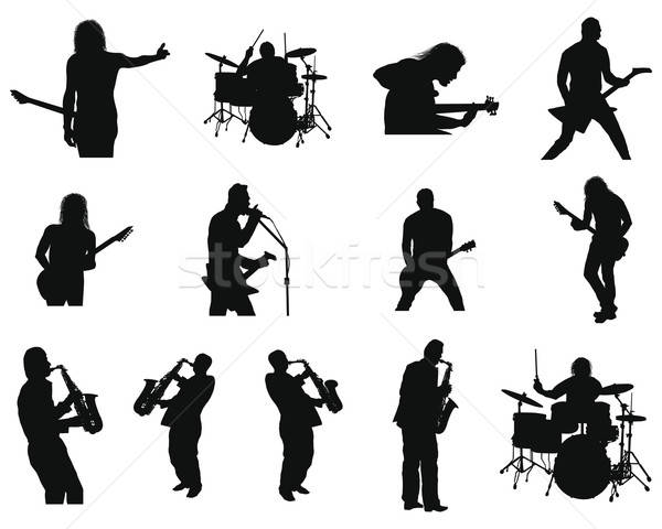 set of rock and jazz silhouettes Stock photo © angelp