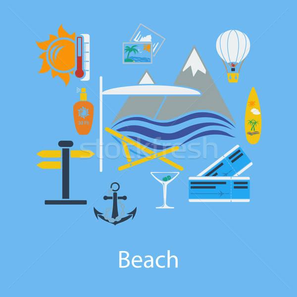 Beach vacation flat design Stock photo © angelp