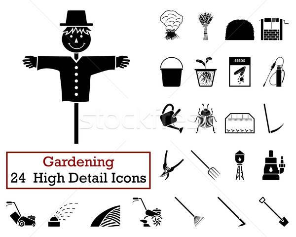 Set of 24 Gardening Icons Stock photo © angelp