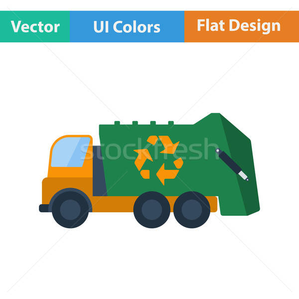 Garbage car with recycle icon. Stock photo © angelp