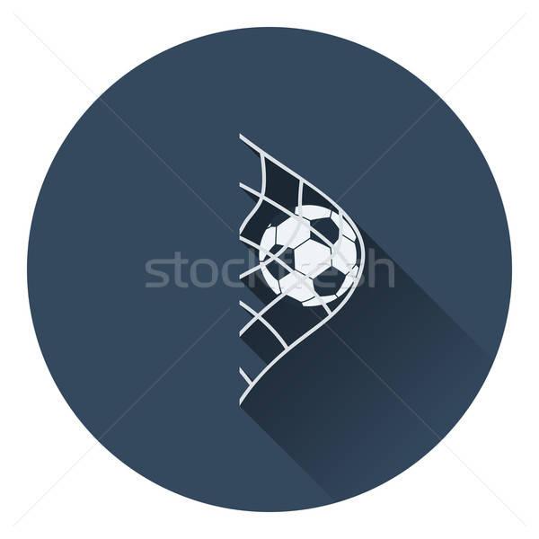 Foto stock: ícone · futebol · bola · portão · com · cor
