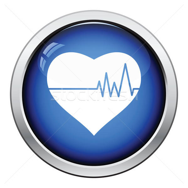 Szív kardio diagram ikon fényes gomb Stock fotó © angelp