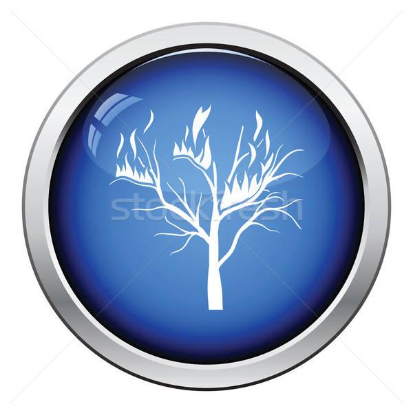 Wildfire ikona przycisk projektu drzewo Zdjęcia stock © angelp