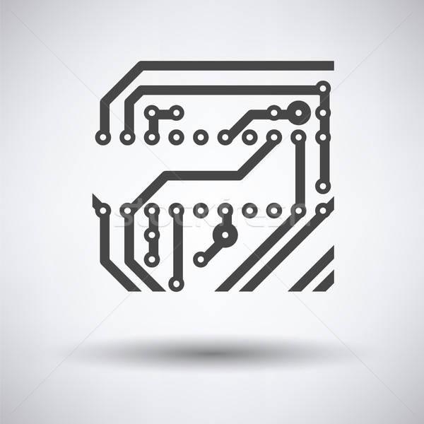 Circuit icône gris technologie art science Photo stock © angelp