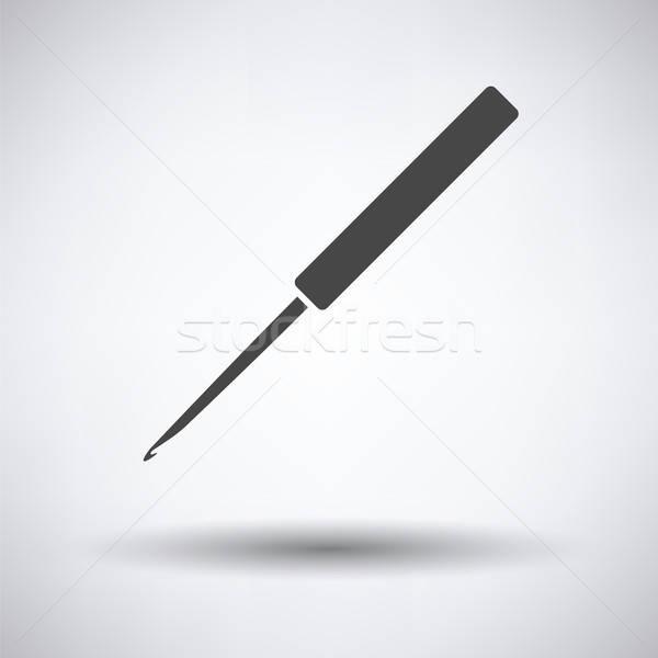 вязанье крюк икона серый моде пер Сток-фото © angelp