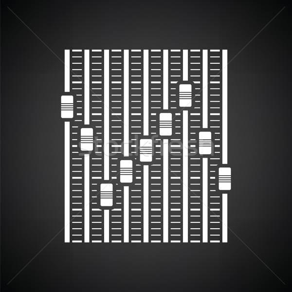 Música ecualizador icono blanco negro disco negro Foto stock © angelp