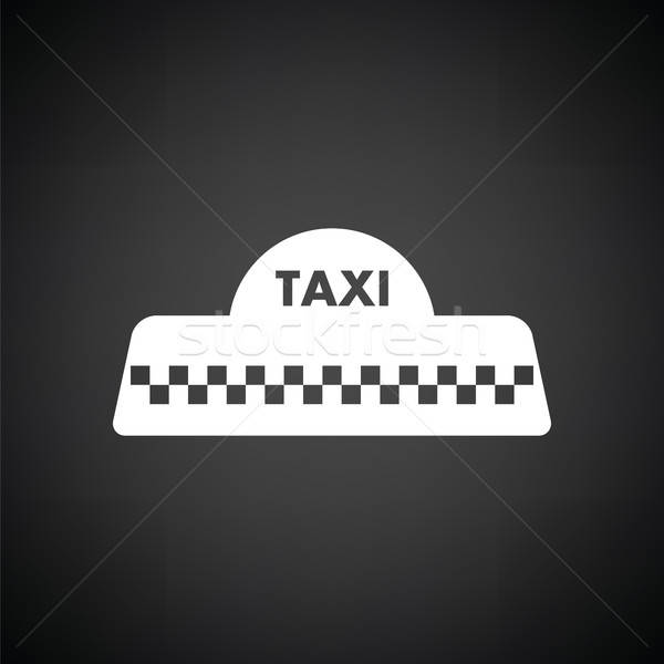 Taksi çatı ikon siyah beyaz iş araba Stok fotoğraf © angelp