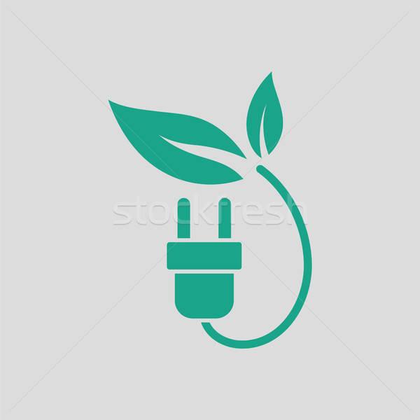 Eléctrica plug hojas icono gris verde Foto stock © angelp