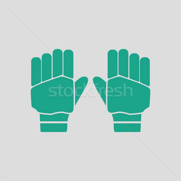 пару крикет перчатки икона серый зеленый Сток-фото © angelp