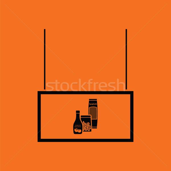 Kruidenier markt afdeling icon oranje zwarte Stockfoto © angelp