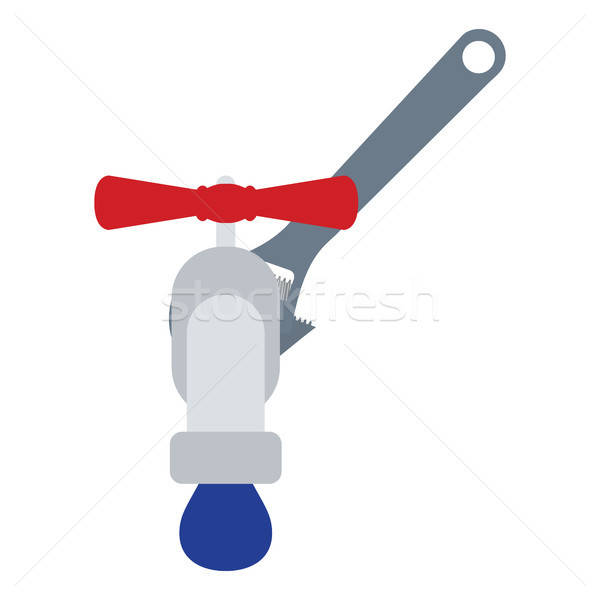 Icon of wrench and faucet Stock photo © angelp