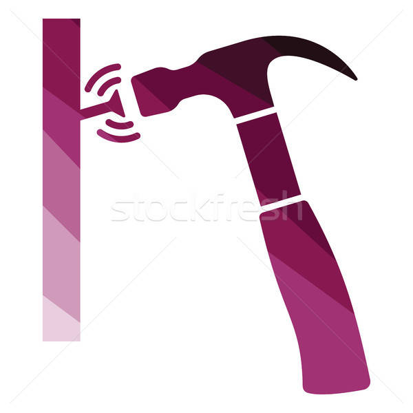 Icon of hammer beat to nail Stock photo © angelp