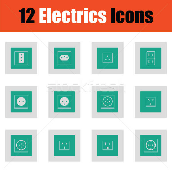 Electrics icon set Stock photo © angelp