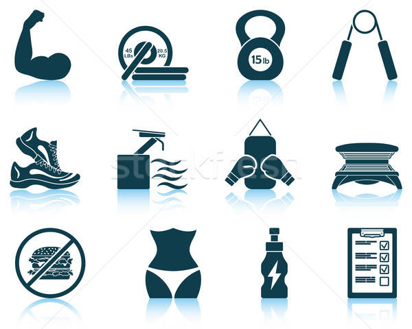 Stock photo: Set of fitness icons