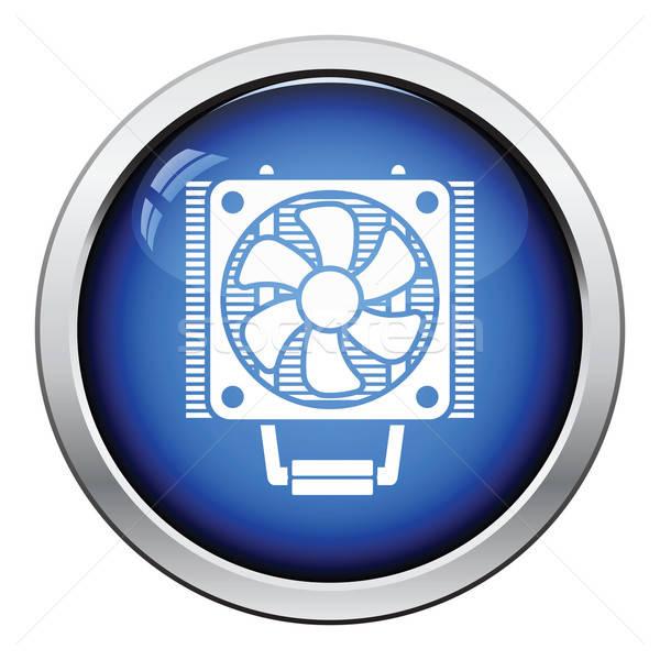 Processzor ventillátor ikon fényes gomb terv Stock fotó © angelp