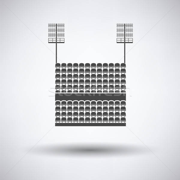 Stock photo: Stadium tribune with seats and light mast icon