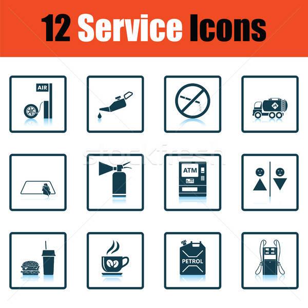 Ingesteld twaalf tankstation iconen schaduw Stockfoto © angelp
