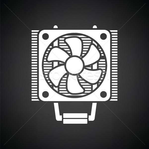 Cpu ventilador ícone preto e branco tecnologia metal Foto stock © angelp