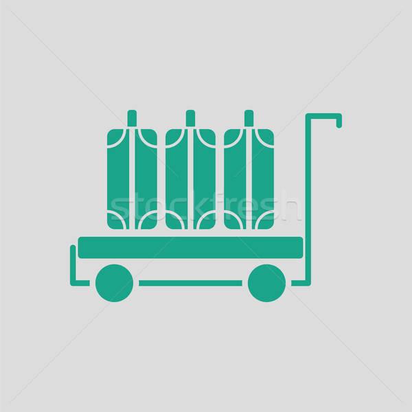 Zdjęcia stock: Bagażu · koszyka · ikona · szary · zielone · podróży