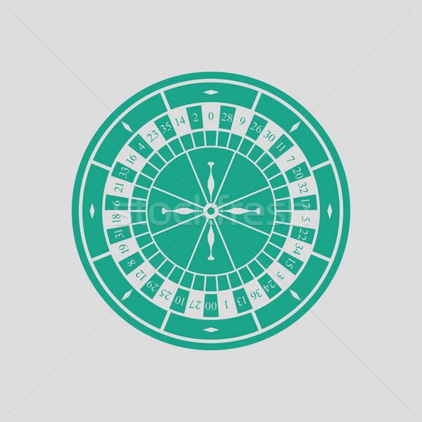 Roleta ícone cinza verde tabela bola Foto stock © angelp