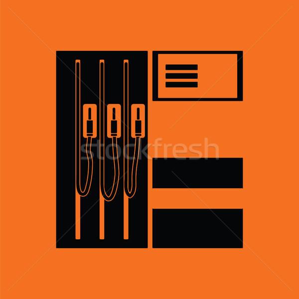 üzemanyag állomás ikon narancs fekete út Stock fotó © angelp