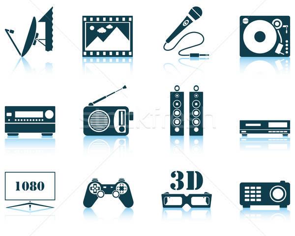 Establecer multimedia icono eps 10 Foto stock © angelp