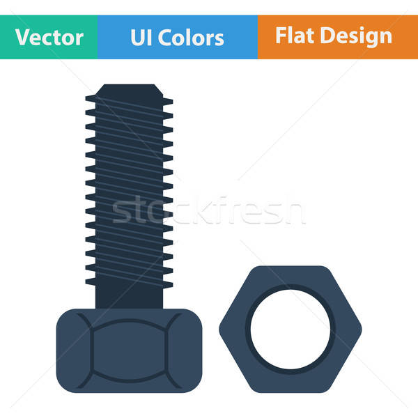 Flat design icon of bolt and nut Stock photo © angelp
