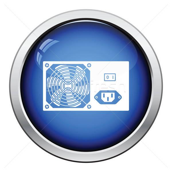 Güç birim ikon parlak düğme dizayn Stok fotoğraf © angelp