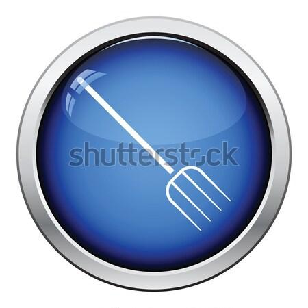 Gereblye ikon fényes gomb terv fű Stock fotó © angelp