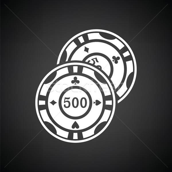 Kaszinó zsetonok ikon feketefehér háttér csoport klub Stock fotó © angelp