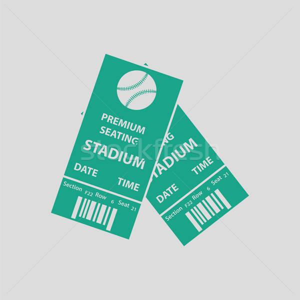 ストックフォト: 野球 · チケット · アイコン · グレー · 緑 · サッカー
