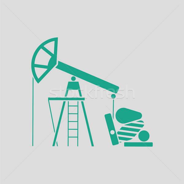Olaj pumpa ikon szürke zöld üzlet Stock fotó © angelp