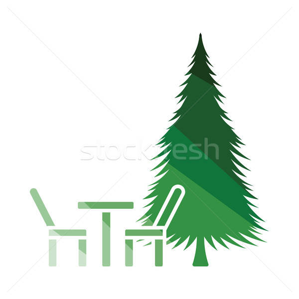 Park zitting pijnboom icon kleur ontwerp Stockfoto © angelp