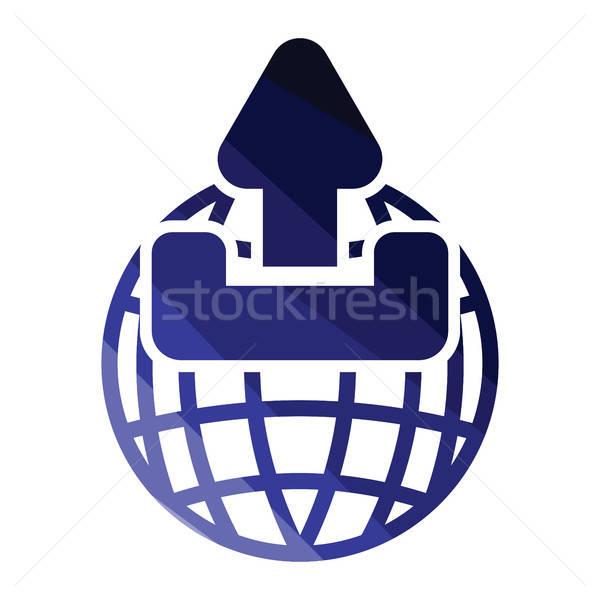 世界中 アップロード シンボル アイコン 色 デザイン ストックフォト © angelp