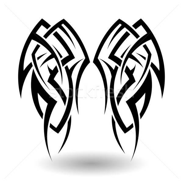 Plemiennych tatuaż skrzydełka streszczenie Zdjęcia stock © angelp