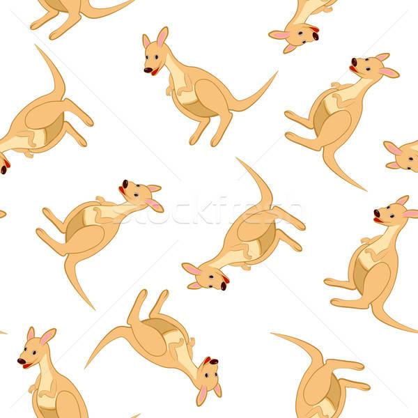 Seamless Funny Cartoon Kangaroo Stock photo © angelp