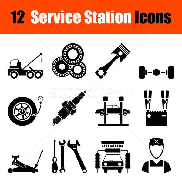 Ingesteld dienst station twaalf zwarte Stockfoto © angelp