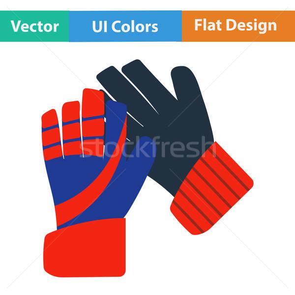 Diseno icono fútbol portero guantes ui Foto stock © angelp
