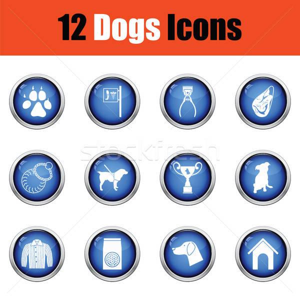 Stock fotó: Szett · kutya · tenyésztés · ikon · szett · ikonok · fényes