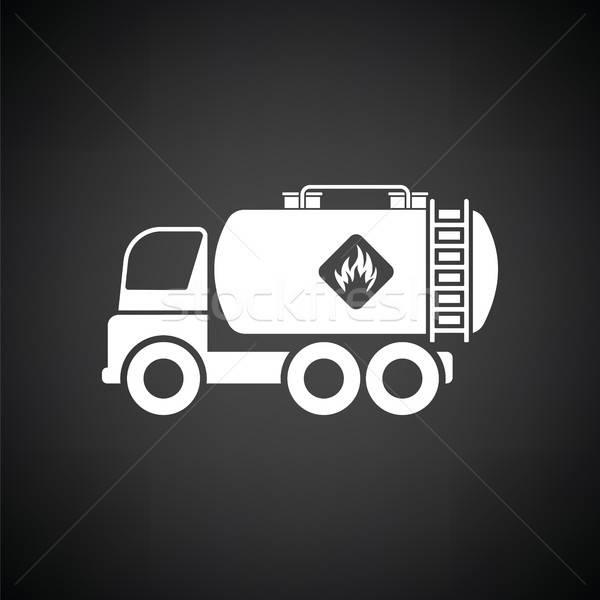 Combustível tanque caminhão ícone preto e branco carro Foto stock © angelp