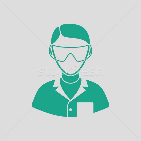 Ikona chemik szary zielone człowiek Zdjęcia stock © angelp