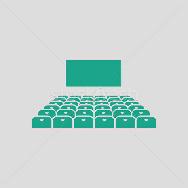 Cinema auditorium icona grigio verde concerto Foto d'archivio © angelp