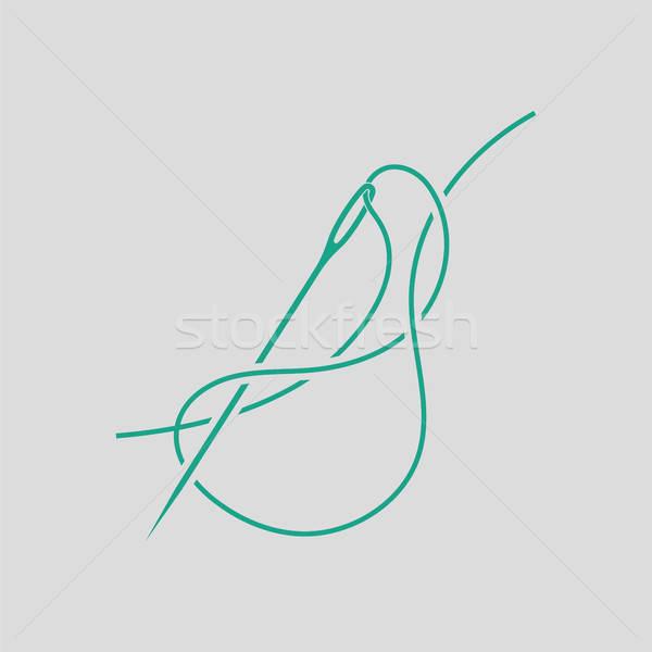 Dikiş iğne iplik ikon gri yeşil Stok fotoğraf © angelp