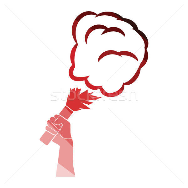 Football fans hand holding burned flayer with smoke icon Stock photo © angelp