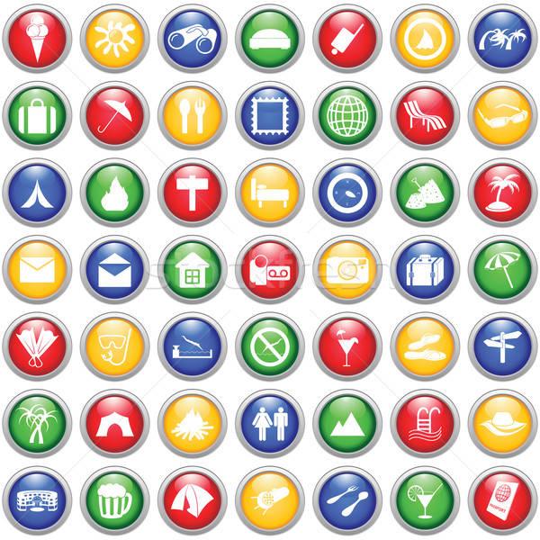 Stock fotó: Utazás · ikon · szett · szett · különböző · vektor · webes · ikonok