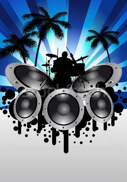 Rock groupe batteur design fête guitare Photo stock © angelp